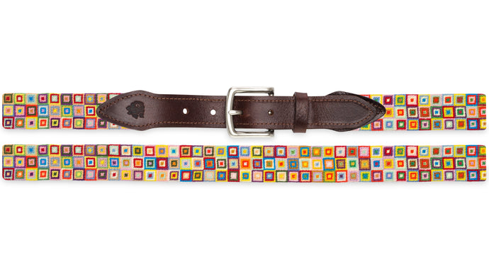 Multi-Colored Squares Needlepoint Belt