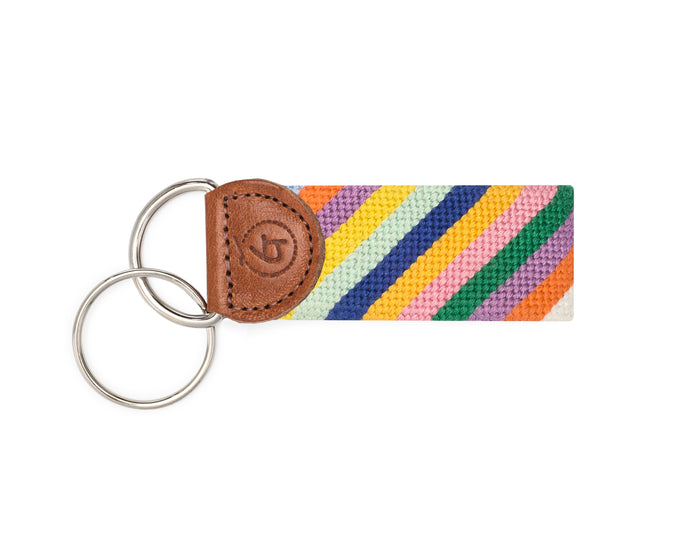 Multi-Colored Stripes Needlepoint Keychain