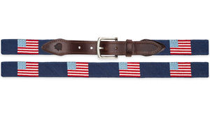 American Flag Belt Needlepoint Belt in Navy
