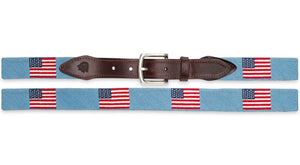 American Flag Needlepoint Belt in Light Blue