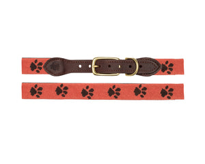Paw Prints Needlepoint Dog Collar