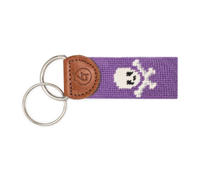 Skull And Crossbones Needlepoint Keychain (Purple)