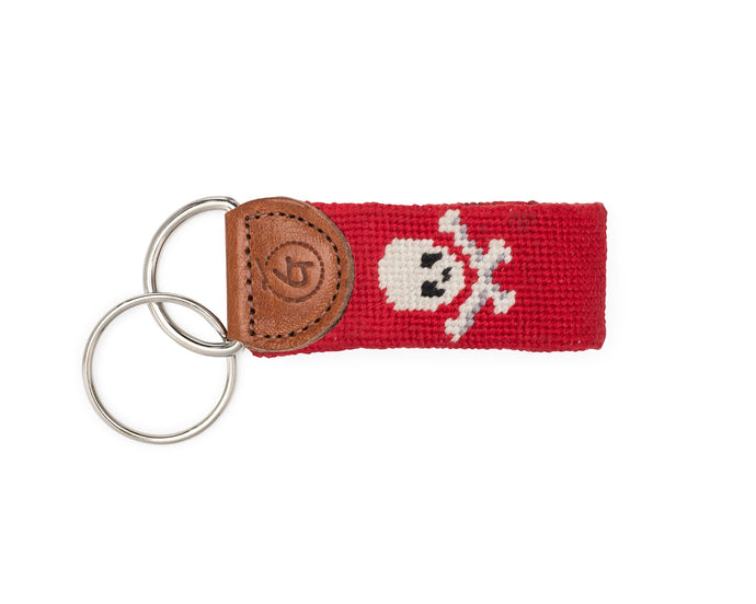Skull And Crossbones Needlepoint Keychain (Red)