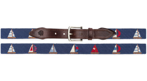 Sailboat Needlepoint Belt (Navy)