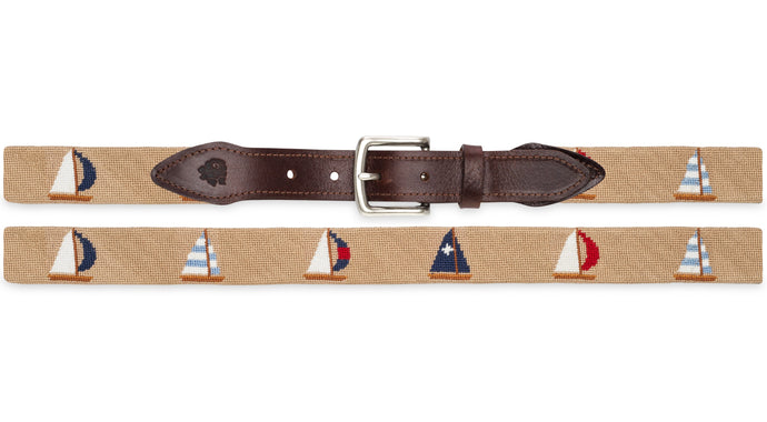 Sailboat Needlepoint Belt (Tan)
