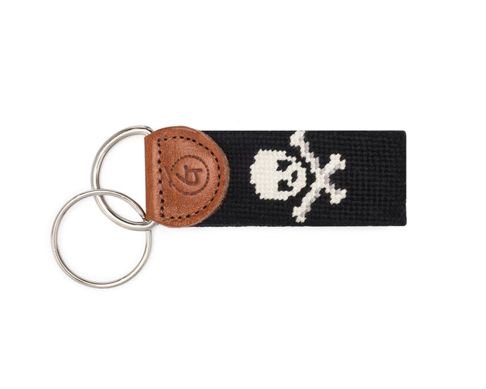 Skull And Crossbones Needlepoint Keychain (Black)