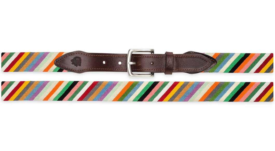 Multi-Colored Stripes Needlepoint Belt