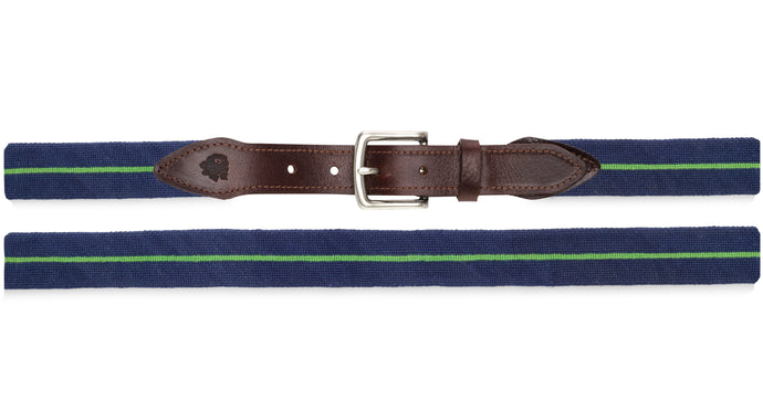 Surcingle Needlepoint Belt (Green and Navy)