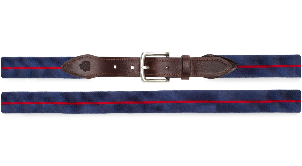 Surcingle Needlepoint Belt (Red and Navy)