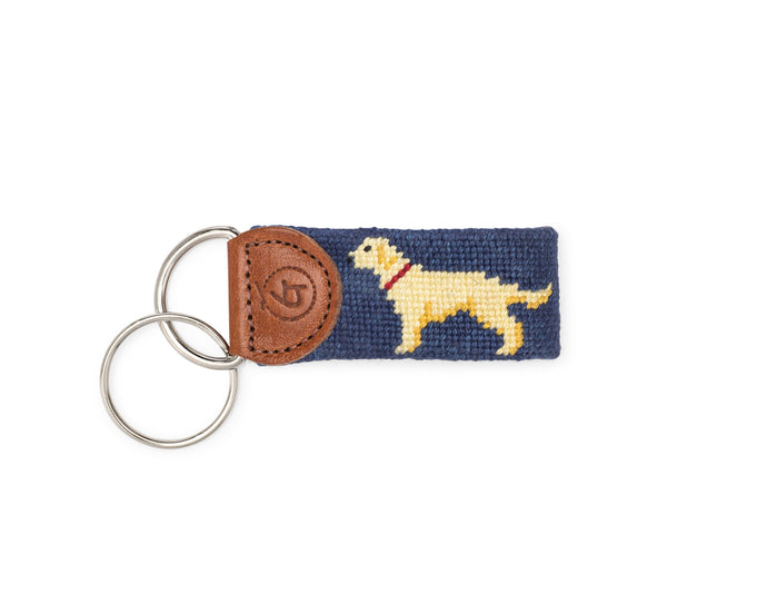 Yellow Lab Needlepoint Keychain (Navy)