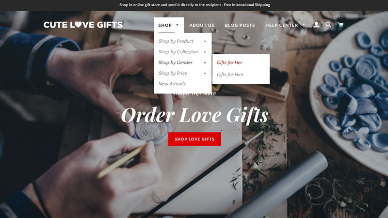 shop by main menu navigation, cute love gifts, online gift store