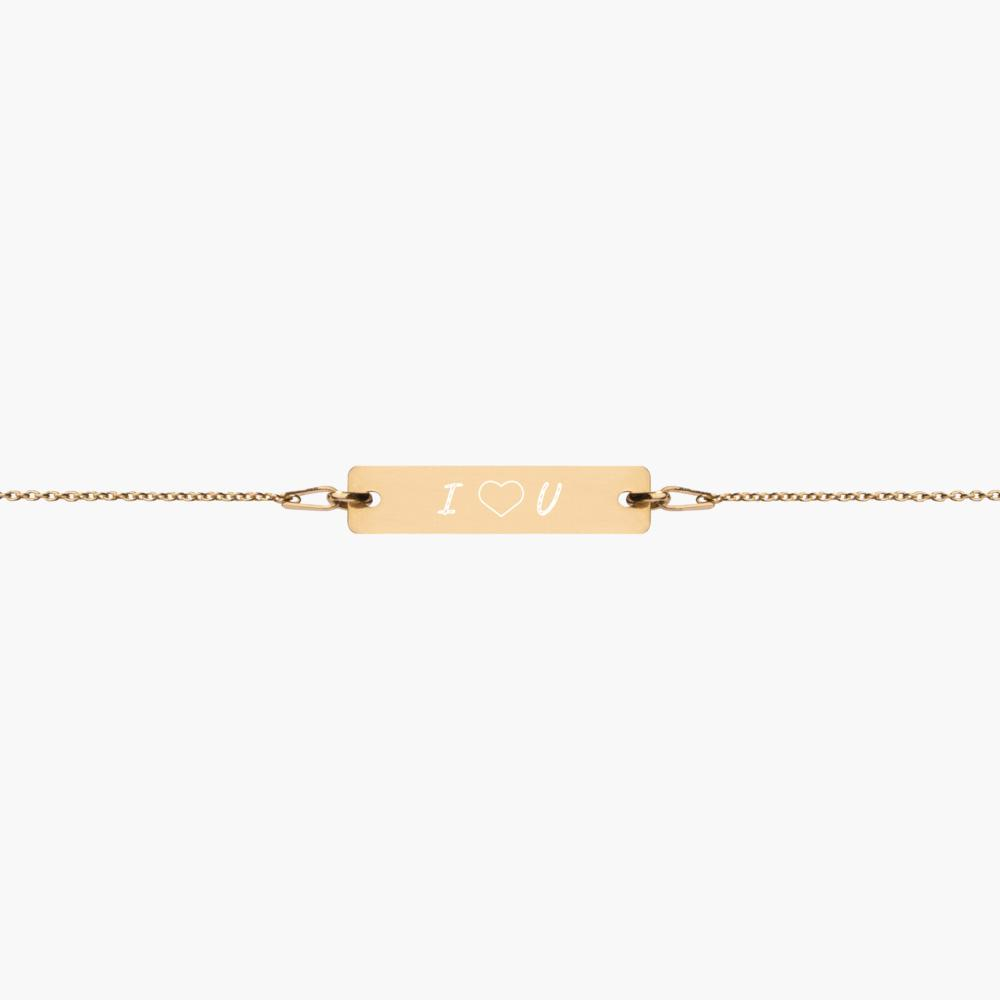 engraved sterling silver bar chain bracelet, 24k gold coating, cute love gifts, online gift store