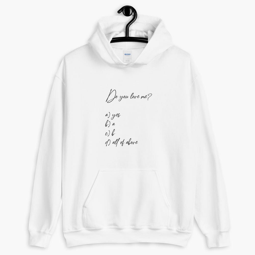 correct answer hoodie, printed text hoodie, white color, love quotes collection, online gift store, cute love gifts