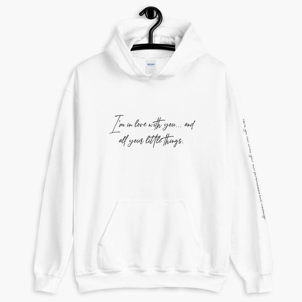 personalized in love with you hoodie, printed text hoodie, white color, love quotes collection, online gift store, cute love gifts