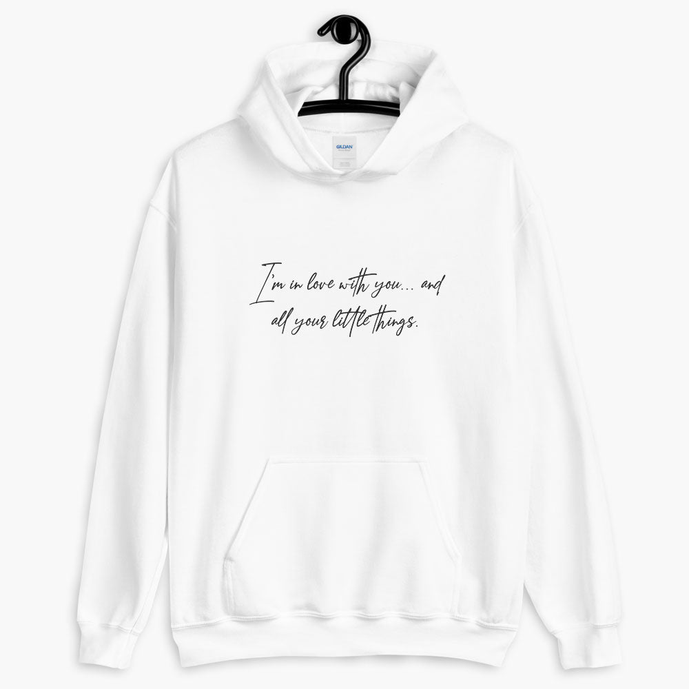 in love with you hoodie, printed text hoodie, white color, love quotes collection, online gift store, cute love gifts