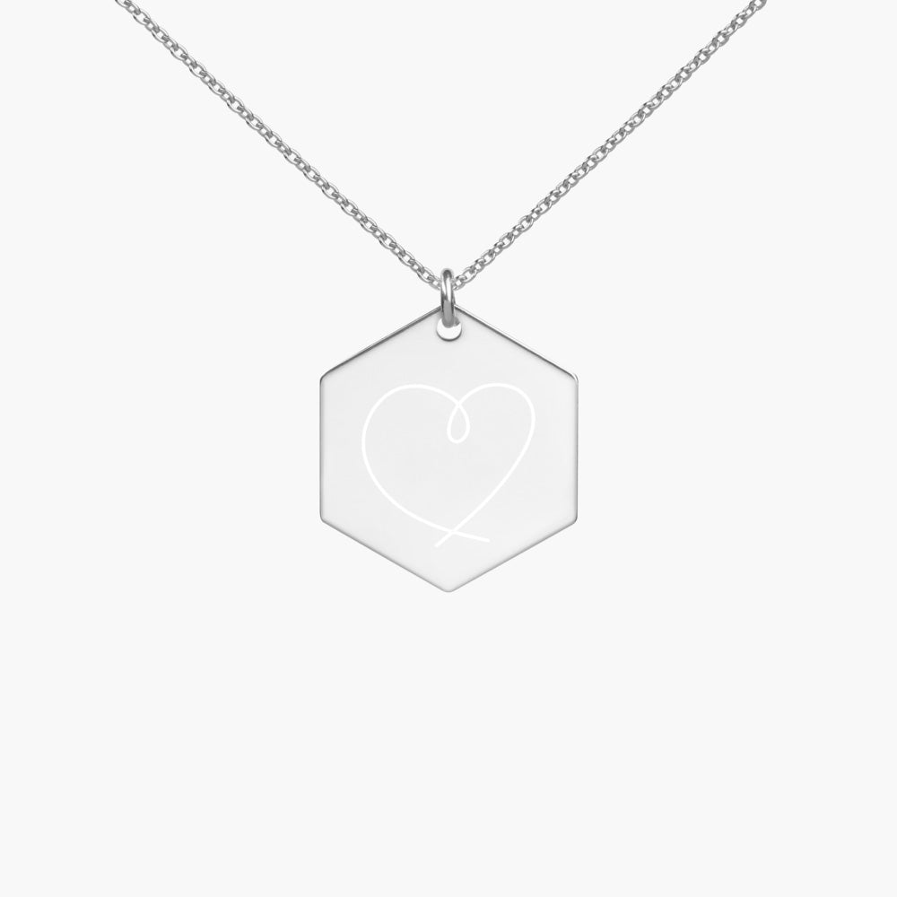 engraved heart hexagon silver necklace, white rhodium coating, cute love gifts, online gift store