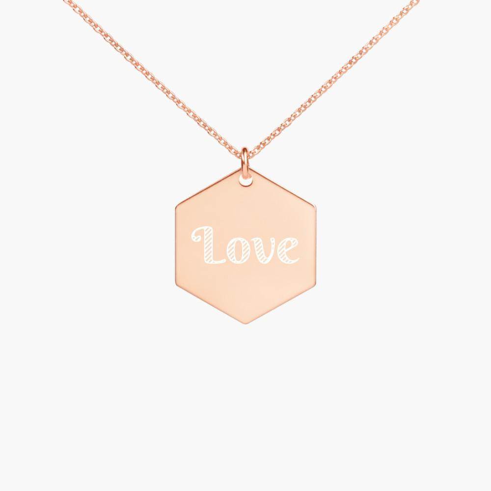 engraved love hexagon sterling silver necklace, 18k rose gold coating, cute love gifts, online gift store