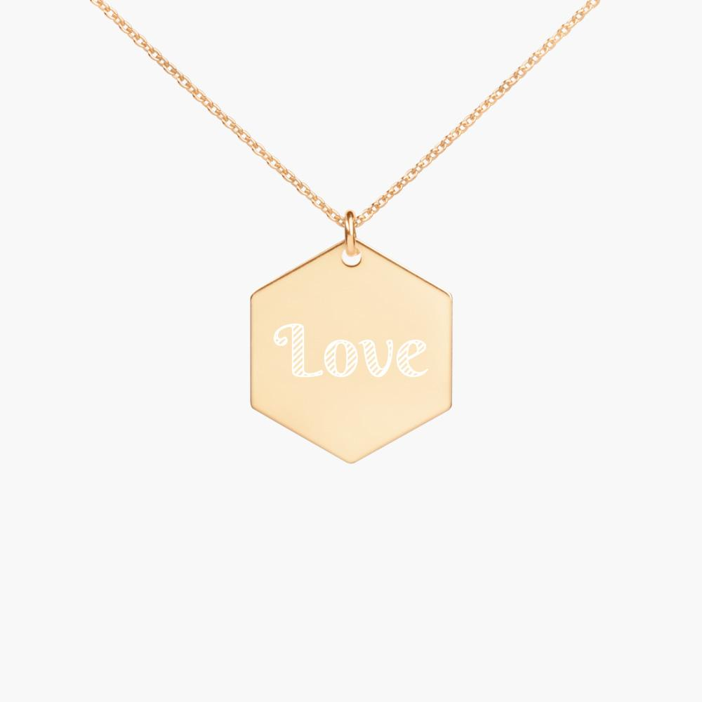 engraved love hexagon sterling silver necklace, 24k gold coating, cute love gifts, online gift store