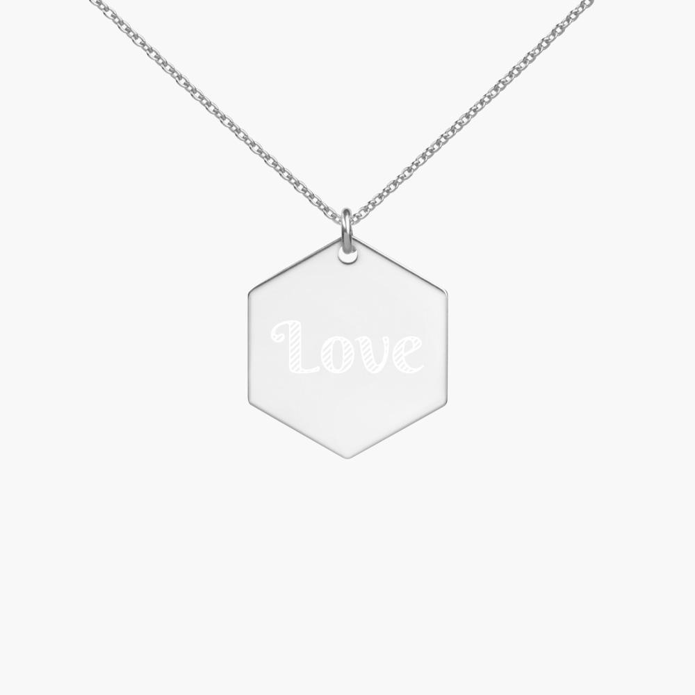 engraved love hexagon sterling silver necklace, white rhodium coating, cute love gifts, online gift store