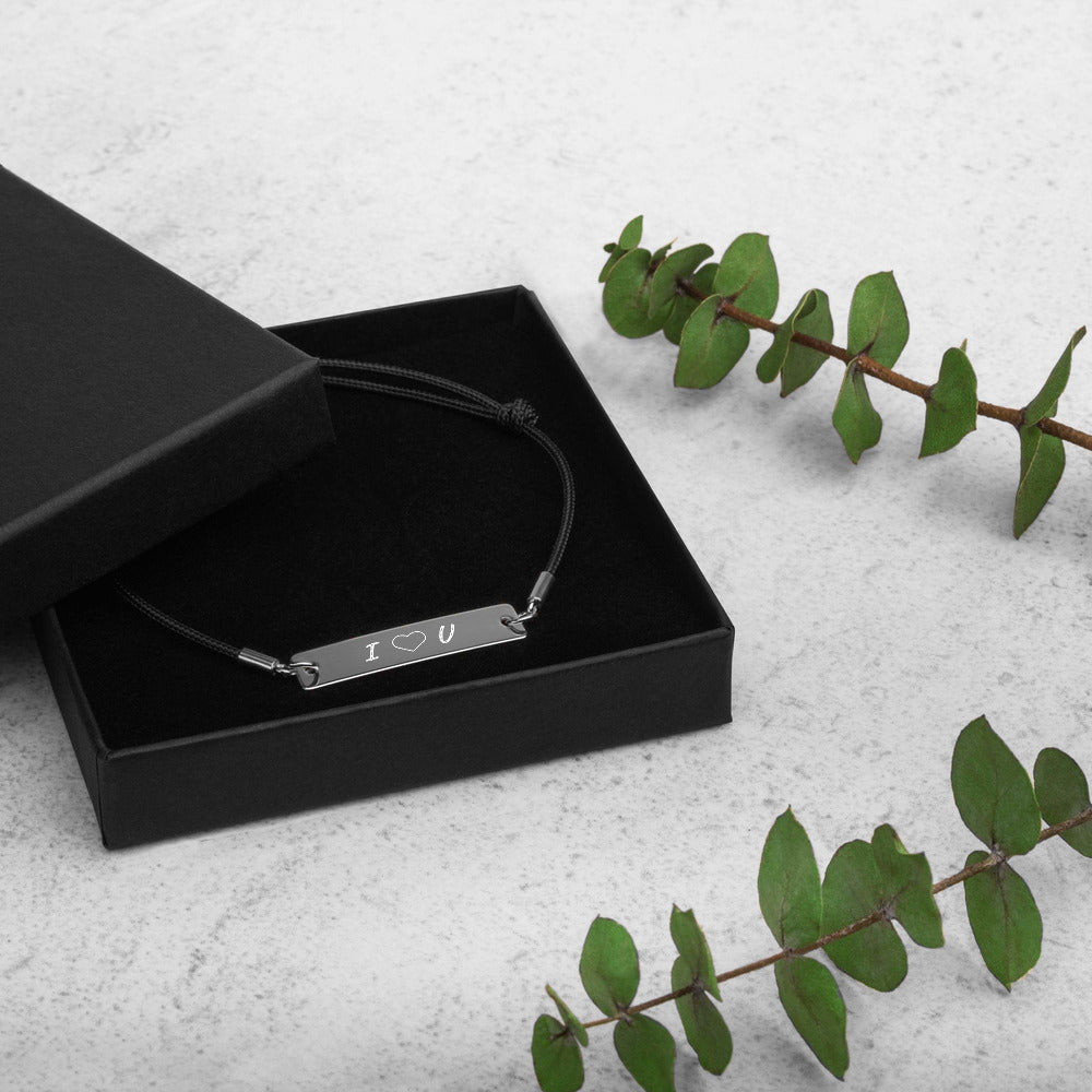 minimalistic unisex engraved 925 sterling silver bar string bracelet, black rhodium coating, cute love gifts, online gift store