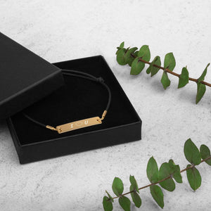 minimalistic unisex engraved 925 sterling silver bar string bracelet, 24k gold coating, cute love gifts, online gift store