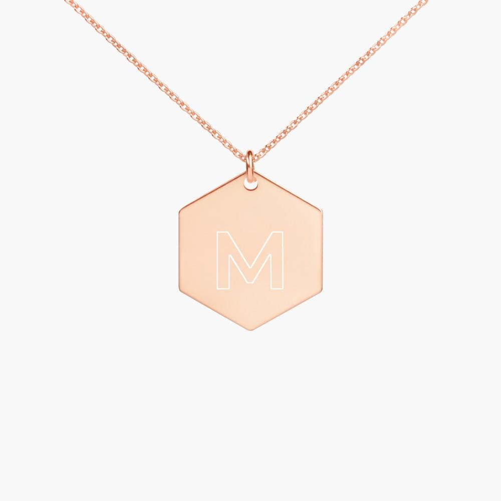 my name initial silver necklace, 18k rose gold coating, cute love gifts, online gift store
