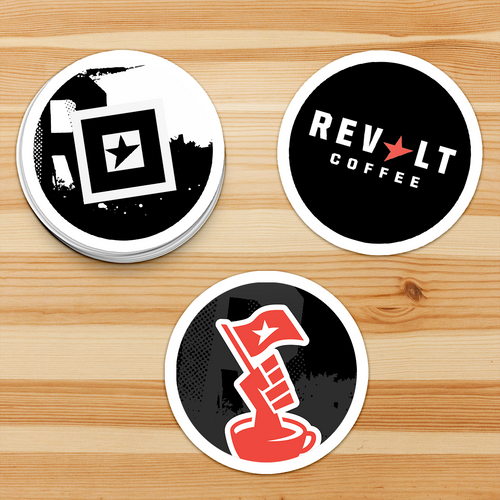 3 Stickers for Revolt Coffee