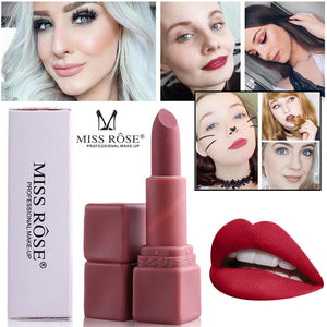 MISS ROSE Lipstick Matt Waterproof Long Lasting Lip Cosmetic Beauty Makeup