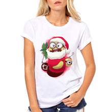 Load image into Gallery viewer, Novelty design kawaii cute Stocking Stuffer printed women t-shirts cartoon characters Banana/Cthulhu/Owl/Toothy Funny Print tops