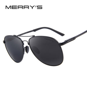 MERRY'S Men Classic Brand Aviation Sunglasses HD Polarized Aluminum Driving TR90 Titanium Bridge Sun glasses S'8716