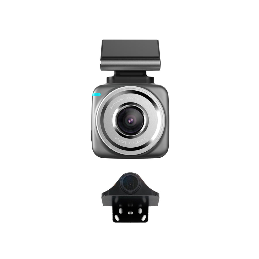 JS Dash Pro - Plug & Play - 1080p FHD Front Dash cam & SD Rear Camera with Wi-Fi & G-sensor