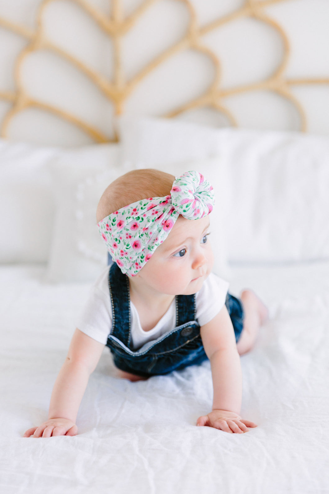 GREEN/PINK FLORAL TOPKNOT HEADBAND