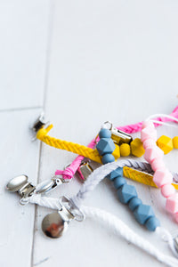 WHITE BRAIDED BINKY CLIP