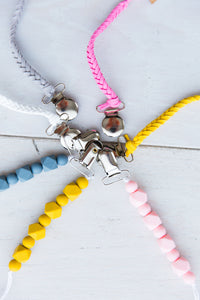 GREY BRAIDED BINKY CLIP