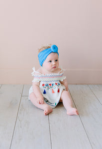 BLUE TOPKNOT HEADBAND
