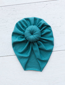 SEA GREEN RIBBED TOPKNOT