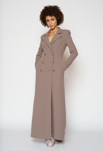 MAUVE DOUBLE BREASTED FITTED COAT