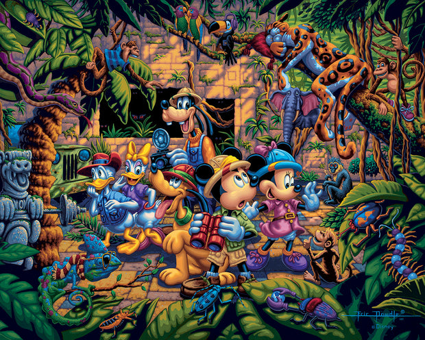 "Mickey and Friends Exploring the Jungle – 11"" x 14"" Gallery Wrap Canvas"
