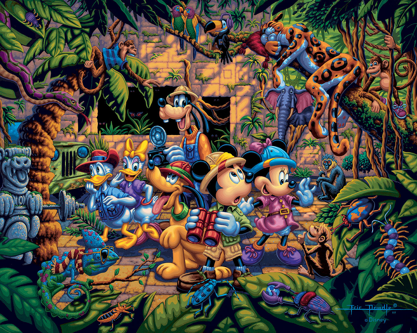 Mickey and Friends Exploring the Jungle – Limited Edition Canvas