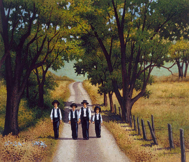 Amish Boys Walking - Fine Art