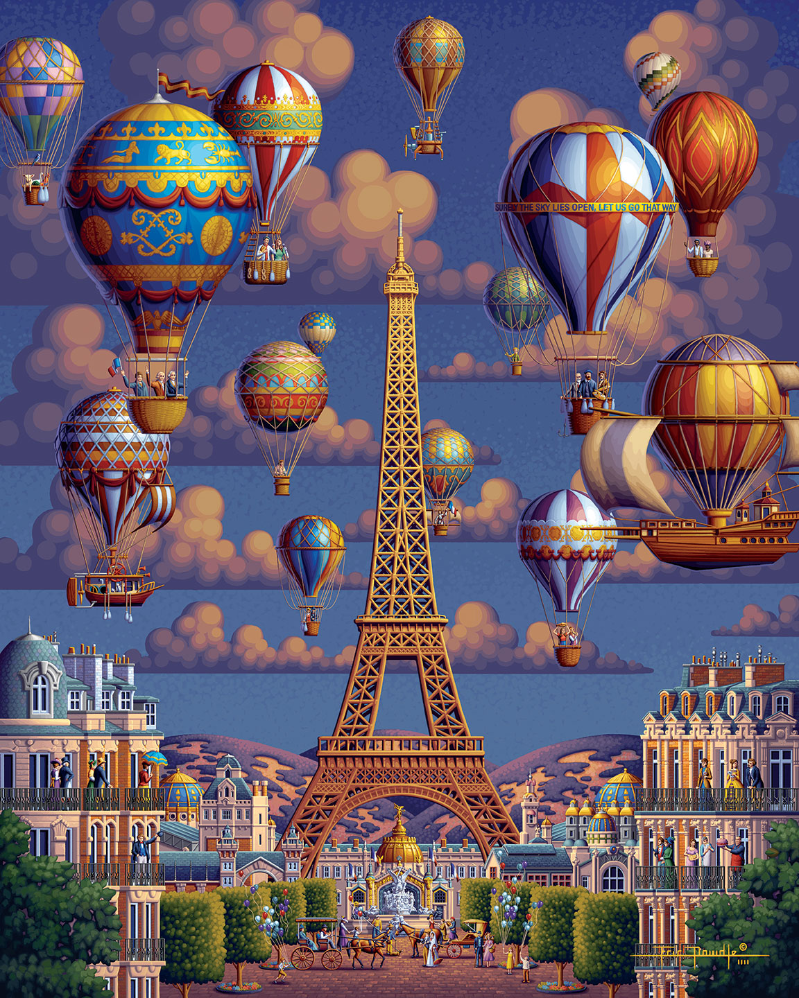 Balloons Over Paris Wooden Puzzle