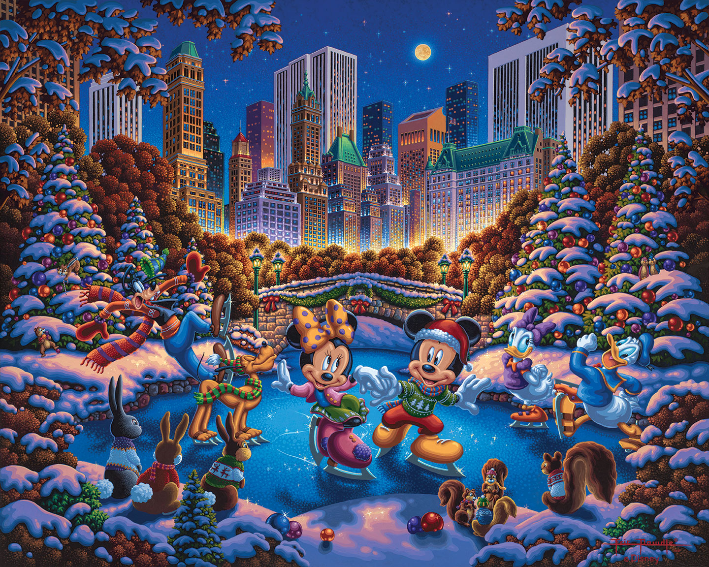 Mickey and Friends Skating in Central Park – Limited Edition Art Print