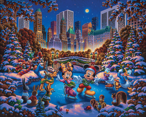 "Mickey and Friends Skating in Central Park – 11"" x 14"" Gallery Wrap Canvas"