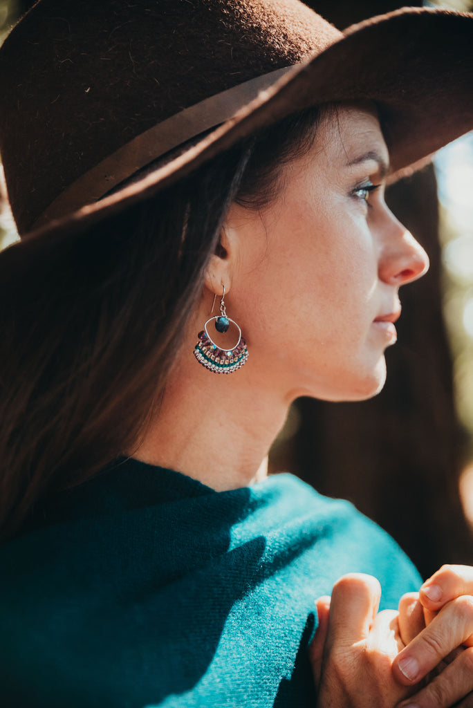 boho fall outfit inspo teal and labradorite earrings