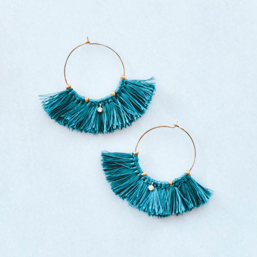 teal tassel hoop earrings boho