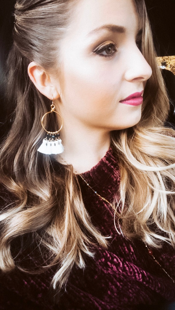 boho chic fall outfit inspo tassel earrings wine sweater