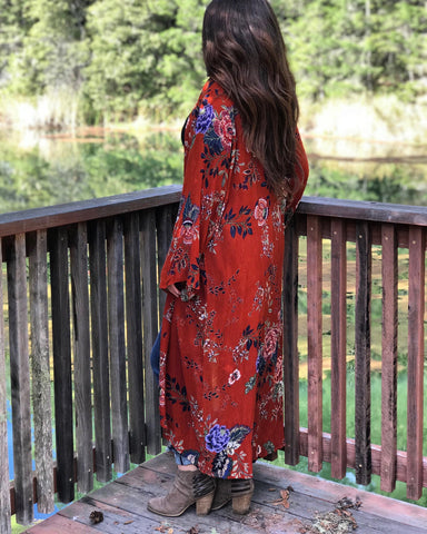 terra cotta kimono duster floral mason james boutique