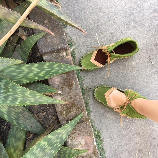 handmade best gift for traveler green moccasins