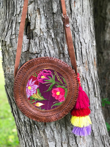 boho circle tote leather with tassel