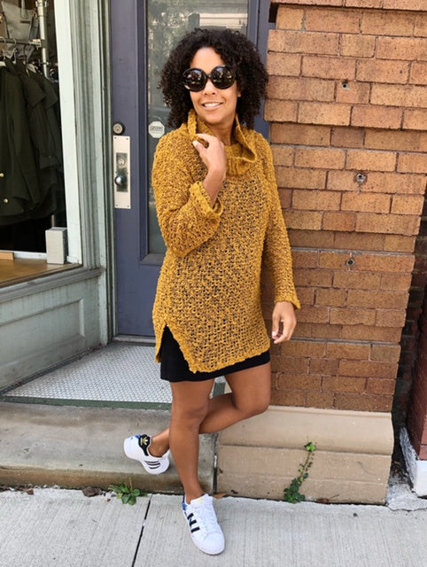 mustard sweater dress street style